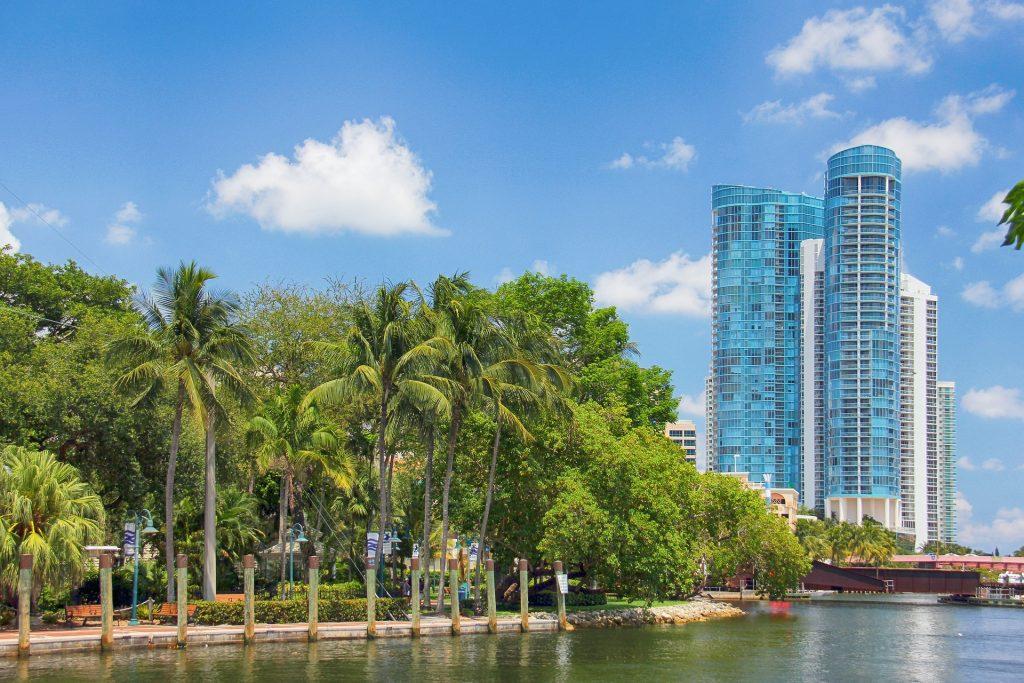 Shoreline walking path along Fort Lauderdale waterfront