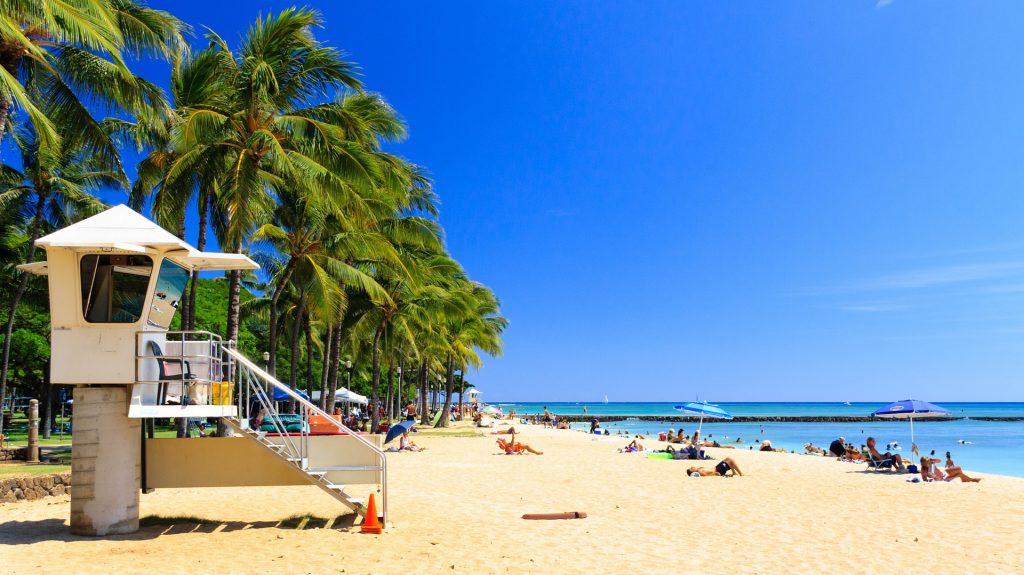 Lifeguard station watching over Honolulu beach