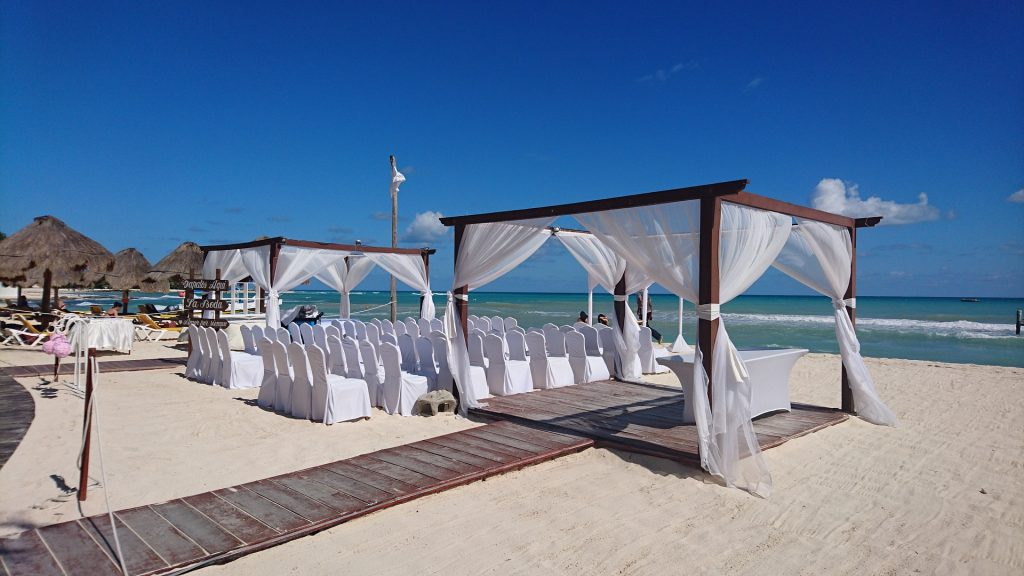 Private cabanas on white sand Cancun beach